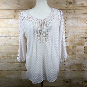 Bila Boho Sheer Lace Cream Top in a size L